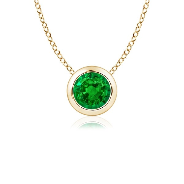 Angara Bezel-Set Emerald Necklace for Women in Yellow Gold QYHLiAI