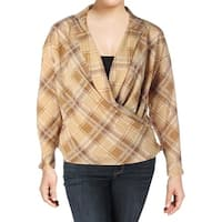 Lauren Ralph Lauren Womens Plus Wrap Top Plaid Long Sleeves