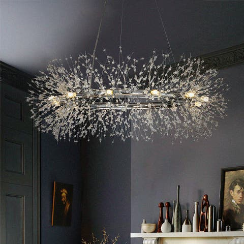 Interior Decor 12-light Stainless Steel Crystal Firework Chandelier