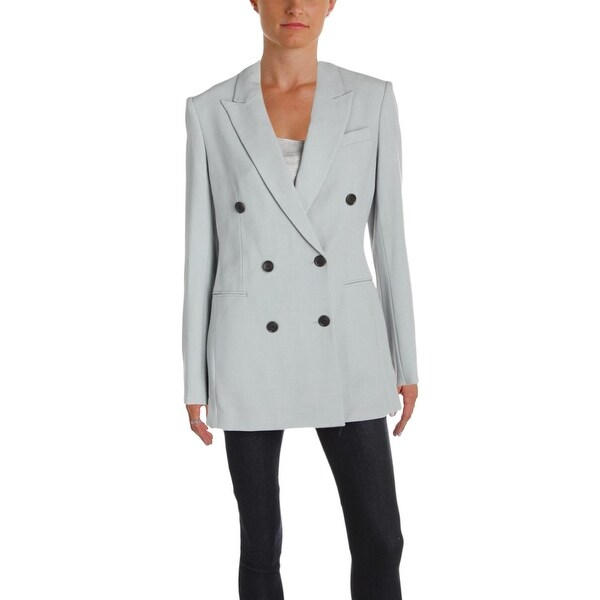 cf766c7d976 Theory Womens Power Jacket Double-Breasted Suit Jacket Wool Business Wear