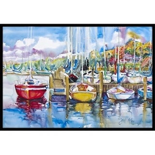 Carolines Treasures JMK1063JMAT Paradise Yacht Club Sailboats Indoor & Outdoor Mat 24 x 36 in.