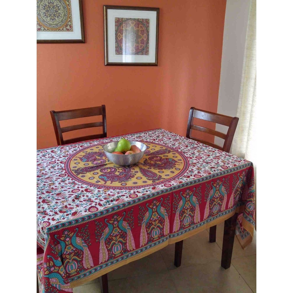 Cotton Floral Peacock Tapestry Tablecloth Rectangular Coverlet Bed sheet Beach Sheet Blue & Red Full Twin Queen - Thumbnail 4