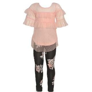 Girls Blush See-Through Overlay Floral Print 2 Pc Legging Set
