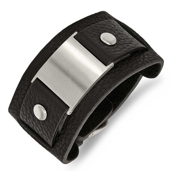 Stainless Steel Black Leather 10in Adjustable with Buckle Bracelet