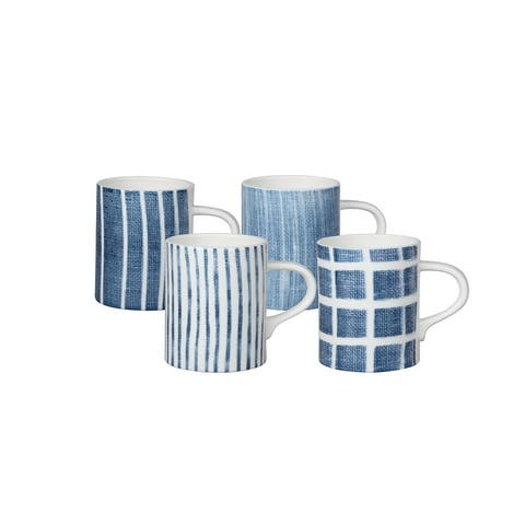 Canvass Blue Mugs Set/4