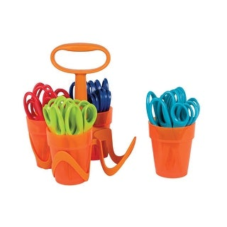 Fiskars 5 Inch Pointed Tip Kids Scissors Classroom Pack Caddy, Pack of 24