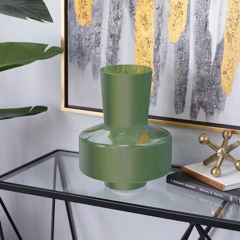 Green Glass Modern Vase 12 x 11 x 10 - 11 x 10 x 12