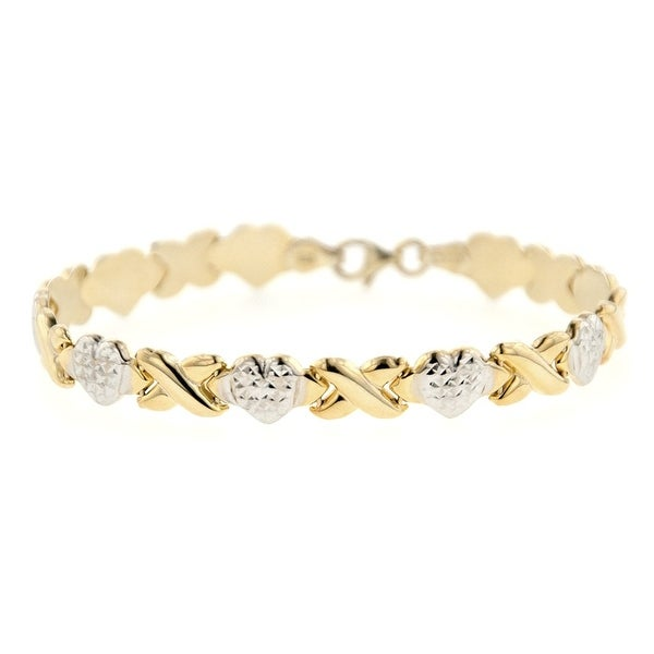 Mcs Jewelry Inc 14 KARAT TWO TONE, YELLOW GOLD AND WHITE GOLD, STAMPATO X & HEART FRIENDSHIP CHAIN BRACELET (8mm)