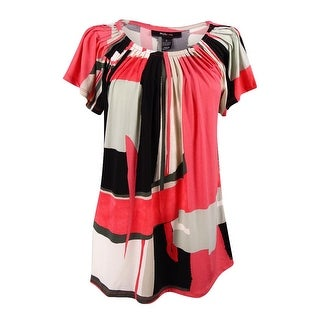 Style & Co. Women's Short-Sleeve Pleated Neck Top