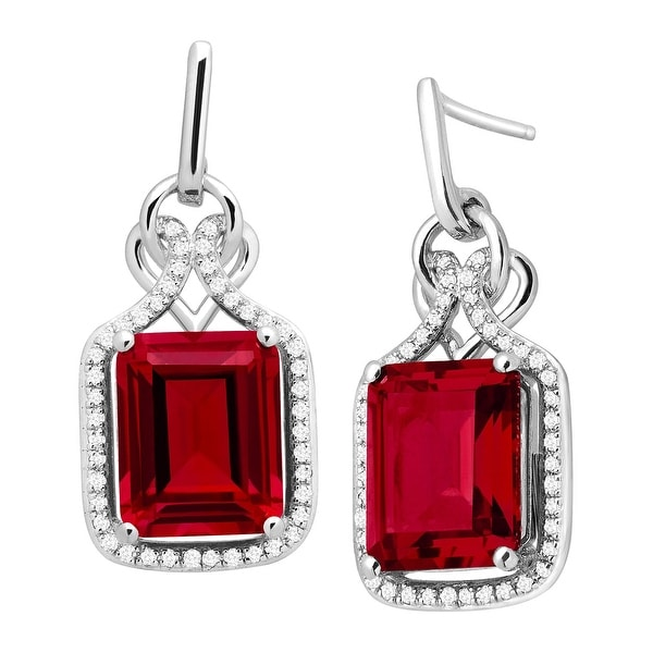 7 1/6 ct Created Ruby & 1/4 ct Diamond Drop Earrings in Sterling Silver - Red