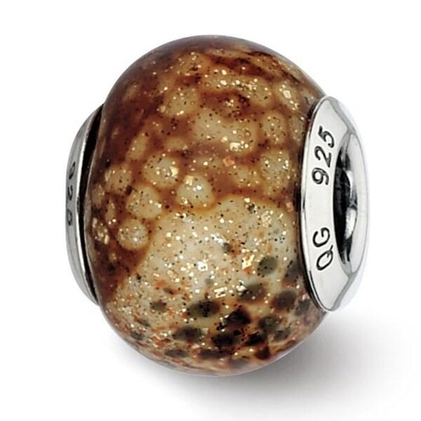 Italian Sterling Silver Reflections Lt Brown Python Glitter Overlay Glass Bead (4mm Diameter Hole)