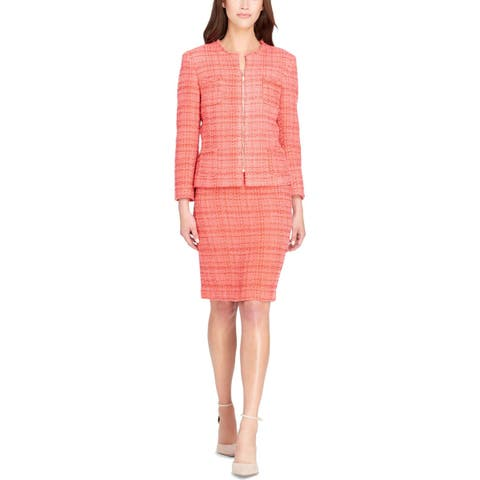 Tahari ASL Womens Skirt Suit Boucle Front-Zip