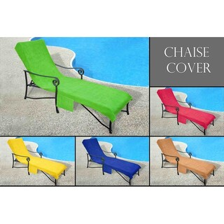 Pool Side Chaise Cover perfect for Pool lounge Chair, Lawn Chair, Patio Chair Cover with 10-Inch Slip-on Back and Side Pocket (4 options available)