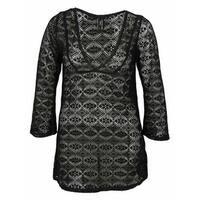 Jones New York Women's  Crochet Long sleeve Printed Cover ups - Black - M