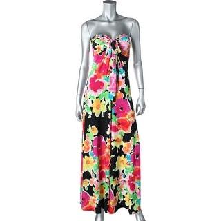 Ralph Lauren Womens Maxi Dress Matte Jersey Floral Print