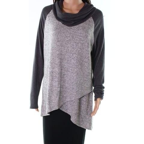 Moa Moa Womens Tunic Cowl-Neck Asymmetric Sweater