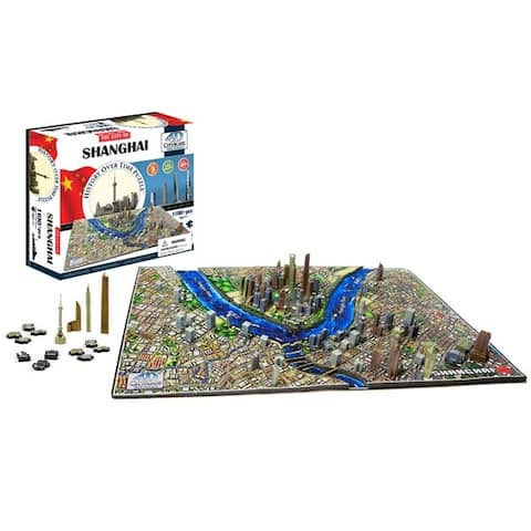 4D Cityscape Jigsaw Puzzle - Shanghai City Map With Time Layer - Multicolor