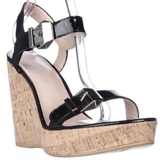 Stuart Weitzman TwoMuch Cork Wedge Sandals, Black Patent