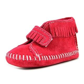 Minnetonka Fringeie Infant Round Toe Leather Red Bootie