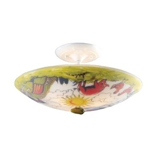 Landmark Lighting 66403-3 Kids / Youth 3 Light Up Lighting Flushmount Ceiling Fixture with Barnyard Design from the Kidshine