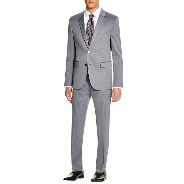 e435da5fa Hugo Boss Mens Aeron Hamen Trim Fit Windowpane Navy Suit 40R Pants 34 Waist