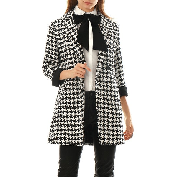 Women Houndstooth Pattern Double Breasted Worsted Coat - Black