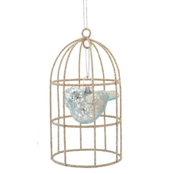 "5"" Silent Luxury Transparent Sky Blue Mercury Glass Bird in Cage Christmas Ornament"
