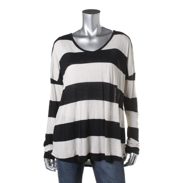 Lucky Brand Womens Striped Long Sleeves Casual Top