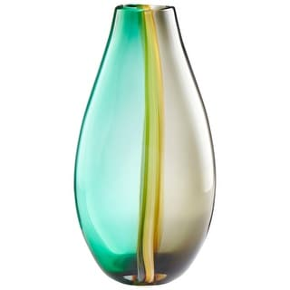 "Cyan Design 09177  Quatrieme 9-1/4"" Diameter Glass Vase - Green / Yellow"