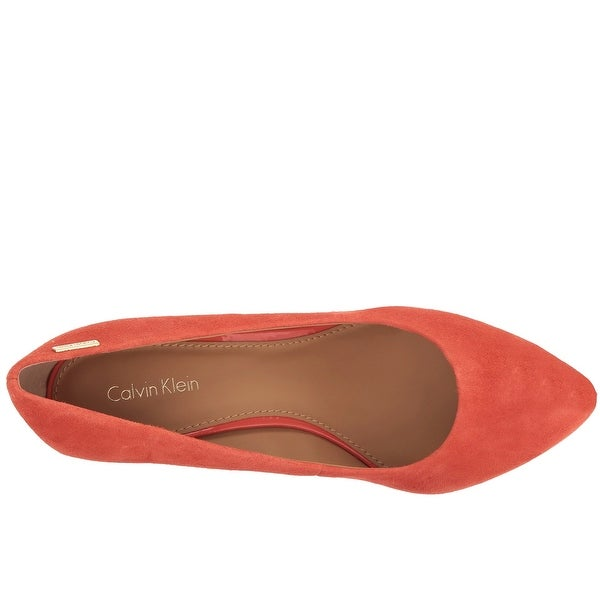 Calvin Klein Womens Celeste Suede Closed Toe Classic Pumps