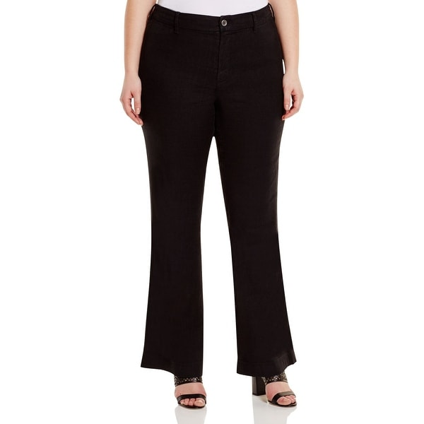 a63ad9b2a6acc NYDJ NEW Black Women  x27 s Size 20W Plus Solid Claire Trousers Pants