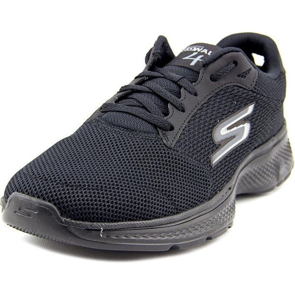 Skechers Go Walk 4 Dual Textured Lace Up Men  Synthetic Black Walking Shoe