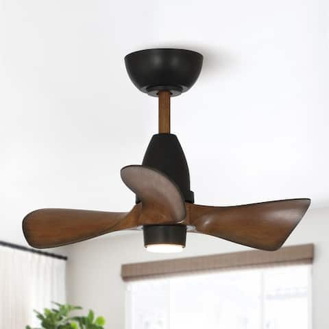 28 in. LED Indoor Brown Ceiling Fan with Light - 28-in