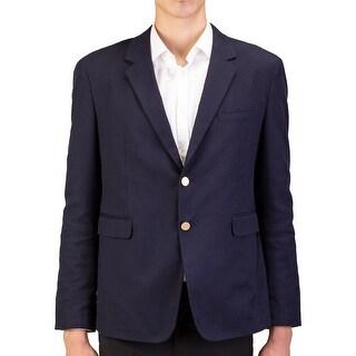 Prada Men's Woven Cotton Sportscoat Jacket Navy Blue - 46