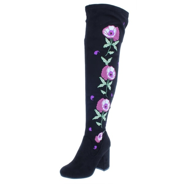 Carlos by Carlos Santana Womens Quality Over-The-Knee Boots Embroidered Floral