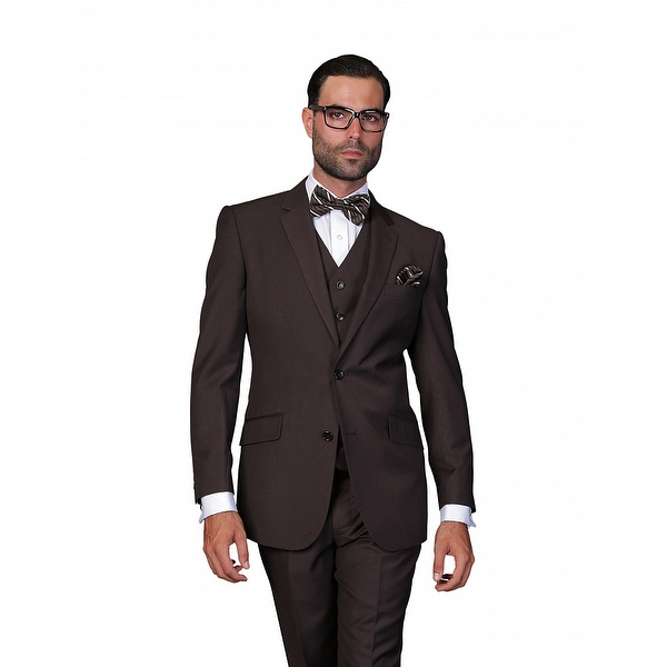 ST-100 Men's 3pc Solid BROWN Suit, Modern Fit, 2 Button, 2 Side Vent, Flat Front Pants