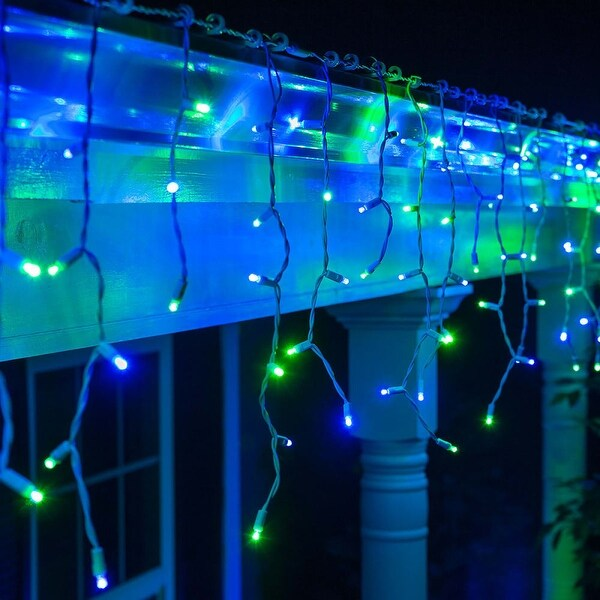 "Wintergreen Lighting 72028 9' Long Outdoor LED 5mm Icicle Lights with 6"" Spacing and White Wire - Blue/Green - N/A"