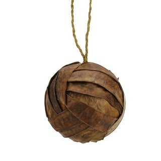 "3.75"" Modern Lodge Rattan Ball Shaped Christmas Ornament"