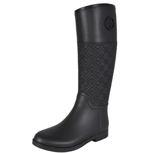 3d92801b6e8a6f Shop Tory Burch Black Quilted Rubber Marion T Logo Rain Boots Shoes SZ 8 -  Free Shipping Today - Overstock - 12179446