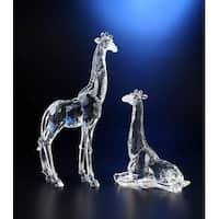 "Pack of 2 Icy Crystal Decorative Giraffe Figures 15.5"" - Clear"