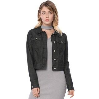 Allegra K Women Long Sleeve Classic Denim Jacket - Black