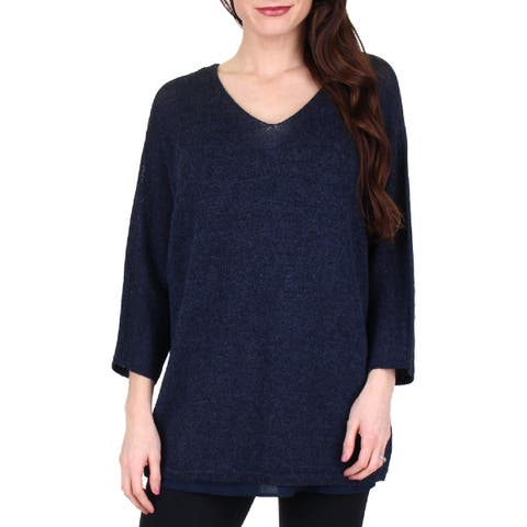Nic + Zoe Womens Lived In Fall Pullover Top Linen Blend V-Neck