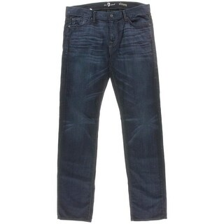 7 For All Mankind Mens Slim Fit Mid-Rise Straight Leg Jeans