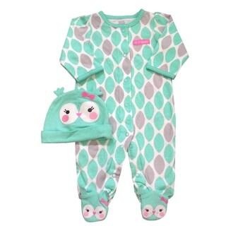 Carter's Just One You Girls Sleep & Play & Hat Set Aqua Owl 6M - 6 months