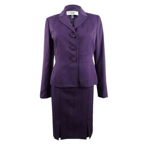 Le Suit Women's Petite Three-Button Cross-Hatch Skirt Suit - Concord