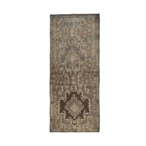 """Shahbanu Rugs Washed Out Afghan Baluch with Natural Colors Pure Wool Runner Hand Knotted Oriental Rug (2'7"""" x 6'3"""")"""