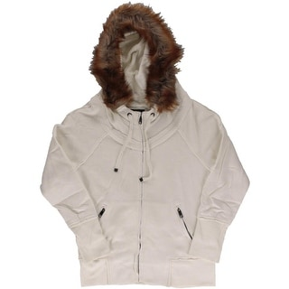 Marc New York Womens Fleece Faux Fur Hoodie - S