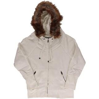 Marc New York Womens Hoodie Fleece Faux Fur