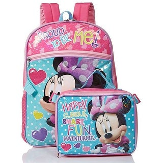 Disney Minnie Proud To Be Me Backpack with Detachable Lunch Kit, Pink-Blue, 16x12.5x4.5 Inches