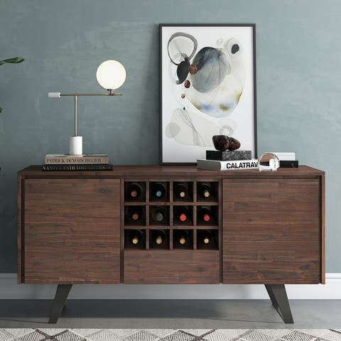 WYNDENHALL Mitchell SOLID ACACIA WOOD 60 inch Wide Modern Industrial Sideboard Buffet with Wine Rack - 60'' x 17'' x 30